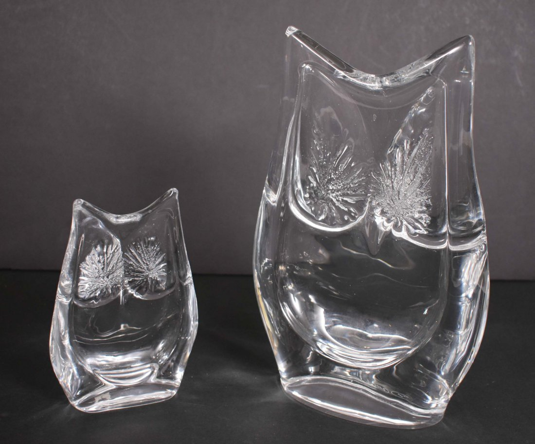 TWO DAUM COLORLESS GLASS OWLS - 2