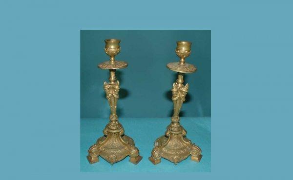 1: Pair of Gilt Bronze Candlesticks
