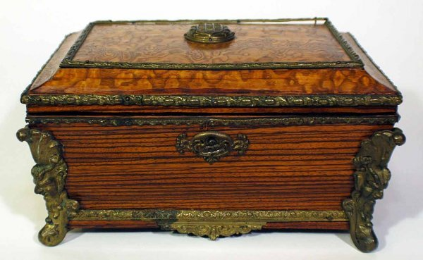2: Footed Hinged Silk-Lined Accessories Box with Brass