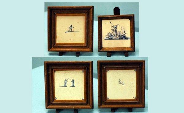 6: Four (4) Antique, Glazed Dutch Pottery Tegels (Tiles
