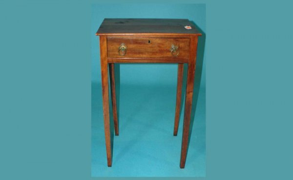 10: Antique Single-Drawer Mahogany Stand with brass rin