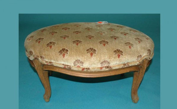 11: French Provincial-Style Carved Upholstered Foot Sto