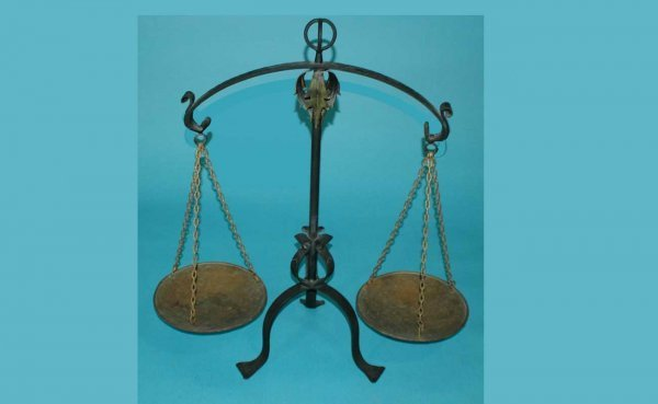 12: Large Black Iron and Brass Balance Scale with gilt