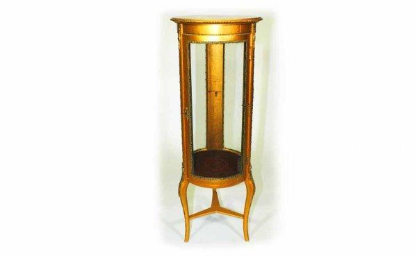 14: French Ormolu Painted Round Vitrine Cabinet Raised
