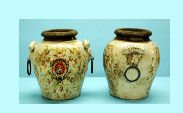 15: Pair of Pottery Vases with lion-head and ring handl