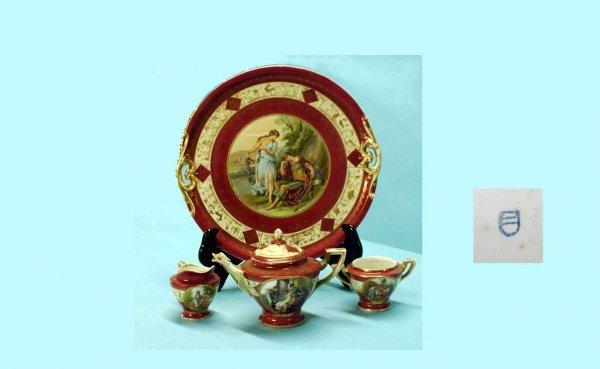16: Four-Piece Royal Vienna-Style Transfer Tea Service