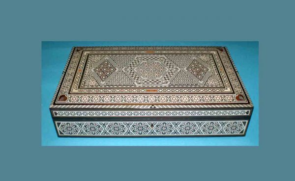 18: Moroccan Inlaid Box with Key measuring 13 ¾ inches
