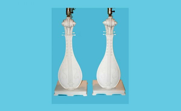 19: Pair of White Glazed Pottery Lute-Form Table Lamps