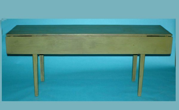 20: Country Painted Green Drop-Leaf Pine Table, and rai