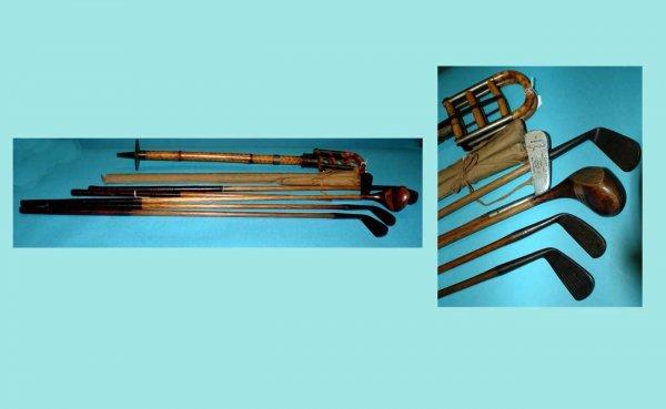 243: Set of Five (5) Antique Wooden Shaft Golf Clubs: a