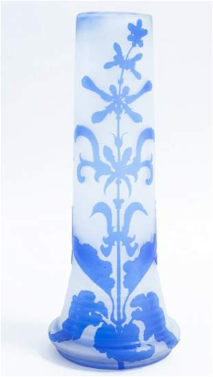 FRENCH CAMEO CUT FROSTED GLASS VASE