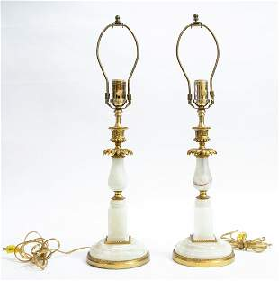 PAIR OF GILT BRONZE MOUNTED ONYX TABLE LAMPS