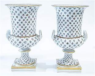 PAIR OF DRESDEN PAINTED PORCELAIN URNS
