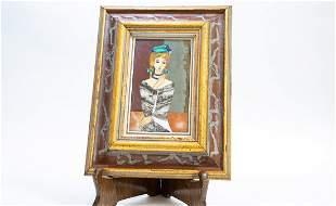 ITALIAN PIETRA DURA PANEL OF A YOUNG GIRL