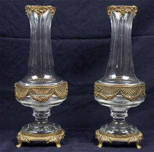PAIR NEO-CLASSICAL STYLE GILT METAL MTD CUT GLASS VASES