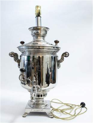 RUSSIAN SILVERED METAL & WOOD SAMOVAR/LAMP