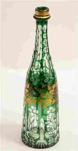BOHEMIAN GREEN FLASHED & CUT GLASS BOTTLE