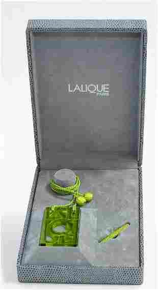 LALIQUE GREEN GLASS PENDANT