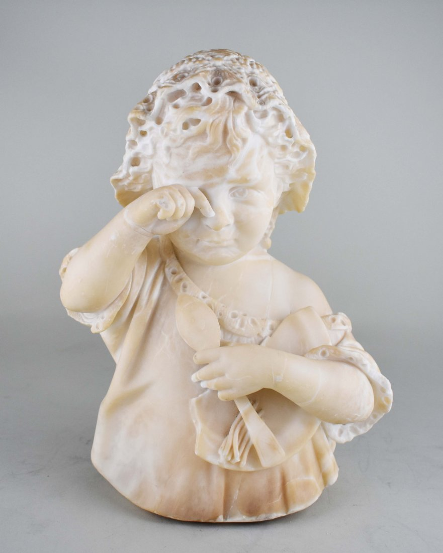 ITALIAN CARVED MARBLE SCULPTURE OF A YOUNG CHILD