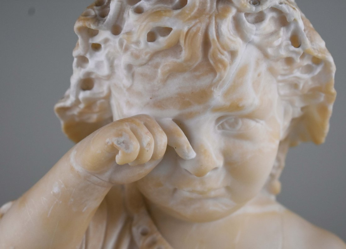 ITALIAN CARVED MARBLE SCULPTURE OF A YOUNG CHILD - 2