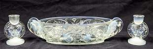 PAIR OF OPALIQUE GLASS CANDLESTICKS AND A BOWL