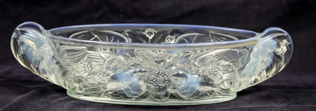 PAIR OF OPALIQUE GLASS CANDLESTICKS AND A BOWL - 6