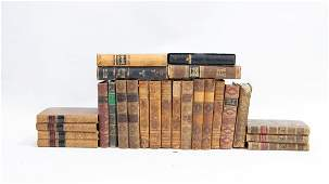 TWENTY-SIX VARIOUS SUBJECT LEATHER-BOUND BOOKS