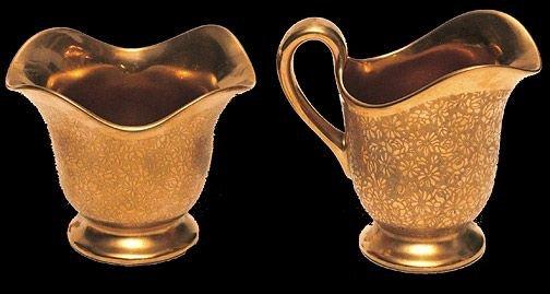 10: Pickard Gold Floral Etched Porcelain Sugar and Crea