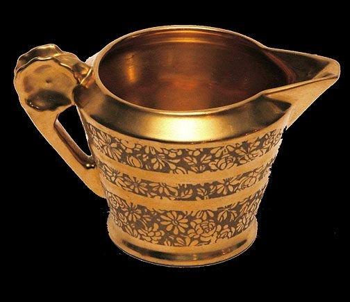 11: Pickard Gold Floral Etched Porcelain Creamer