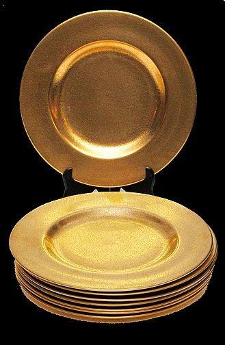 12: (8) Pickard Gold Floral Etched Porcelain Dinner Pla