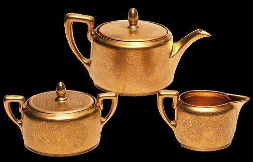 16: (3) Piece Pickard Gold Floral Etched Porcelain Tea