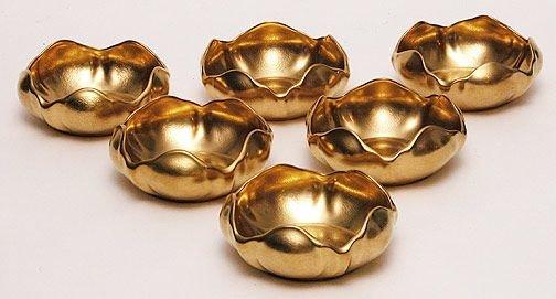 17: (6) Pickard Gold Floral Etched Porcelain Lotus Bowl