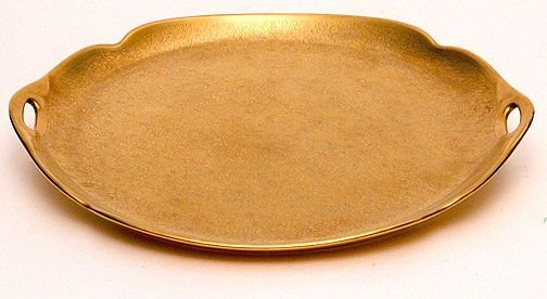 18: Picard Handled Gold Etched Floral Tray