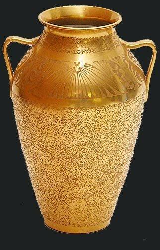 19: Pickard Gold Floral Etched Porcelain 1920's Vase