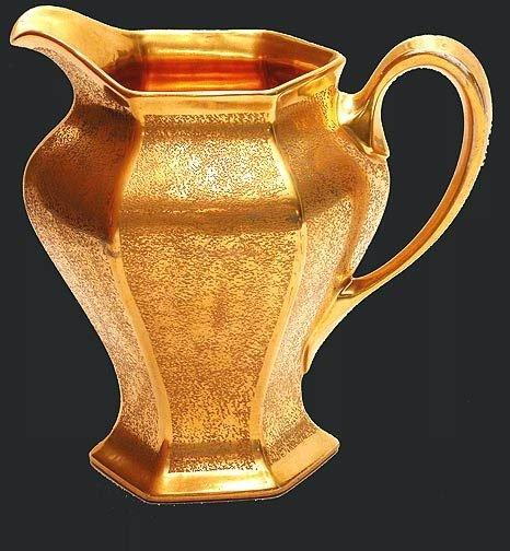 20: Pickard Gold Floral Etched Porcelain Pitcher
