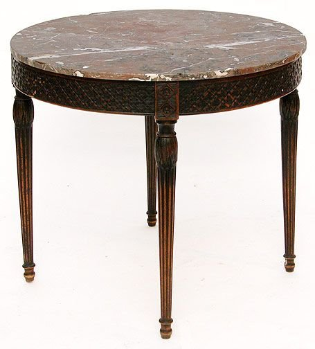 58: Carved Round Walnut and Marble Top Table