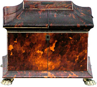 182: 19th Century English Tortoise Footed Tea Caddy