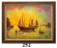 252 Swerdloff Harbor Scene with Moored Boats OC