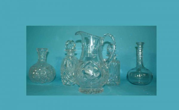 1001: Five Items Including 4 Crystal Decanters