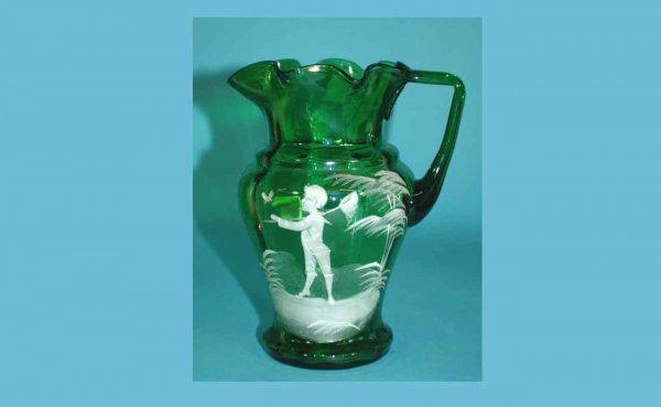 1003: K G Luneville Green Glass Pitcher