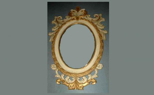 1010: Lg Composition Provincial Carved Beveled Mirror