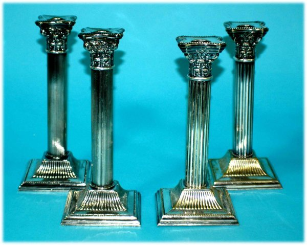 1014: 2 Italian Classical Silverplated Candlesticks