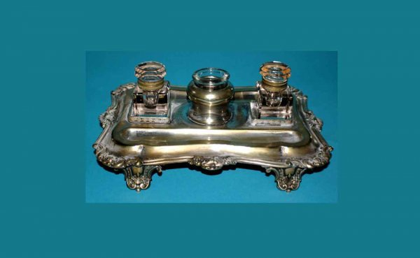1016: Antique Silverplated Footed Inkstand