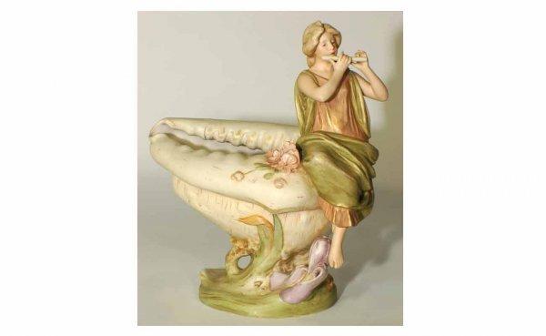 1017: Royal Dux, Bohemian Porcelain Flute Player