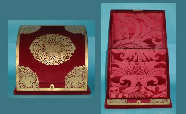1019: Vintage Velvet and Reticulated Stationary Box