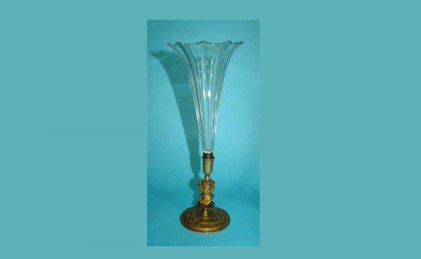 1020: Cut-Glass Trumpet Vase with Cast Brass Base
