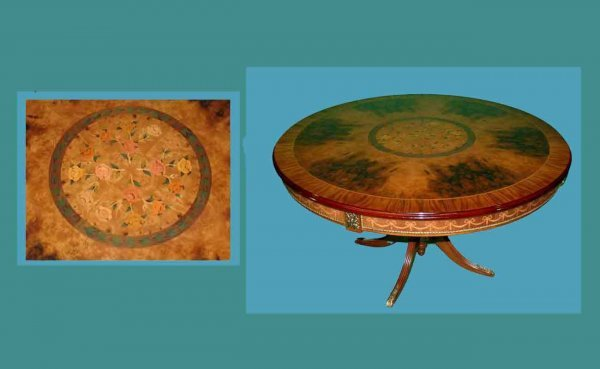 1022: Fr Empire-Style Ormolu-Mounted and Inlaid Table