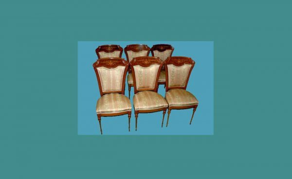 1023: Six (6) French-Style Inlaid Chairs