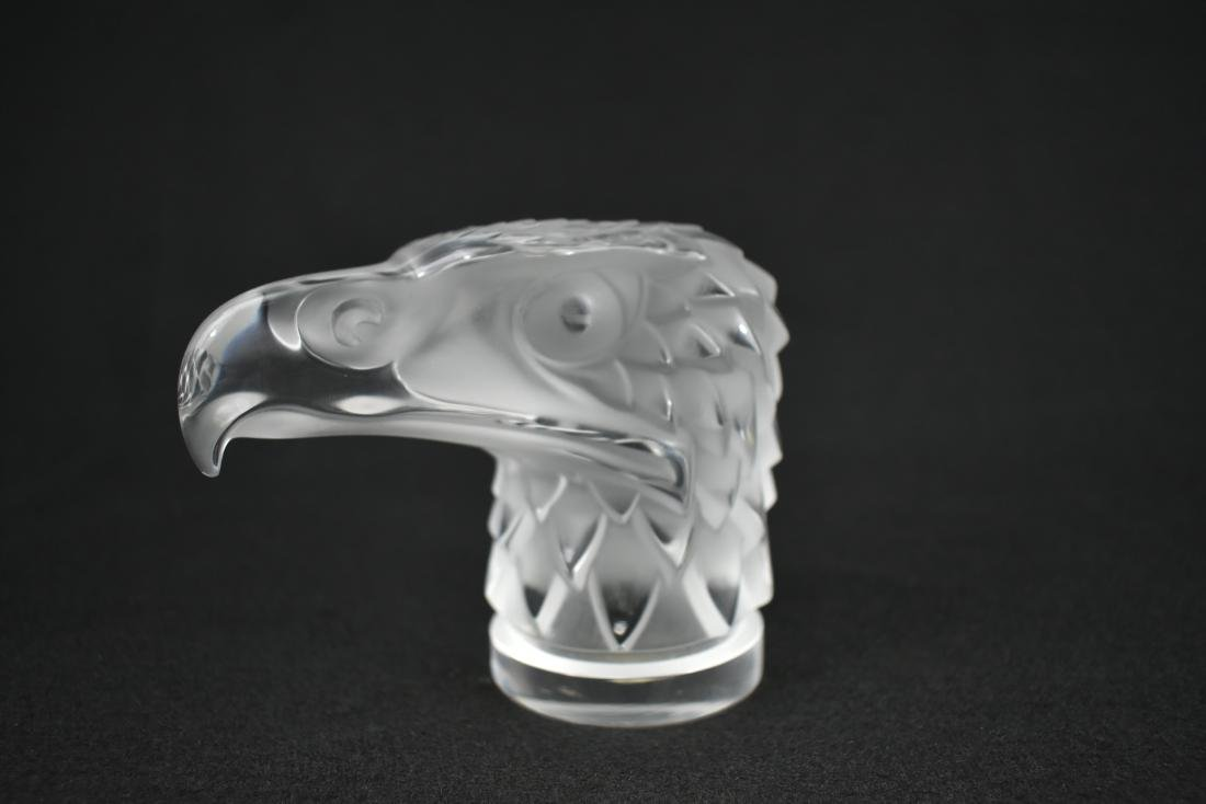 LARGE LALIQUE COLORLESS GLASS EAGLE HEAD MASCOT - 2