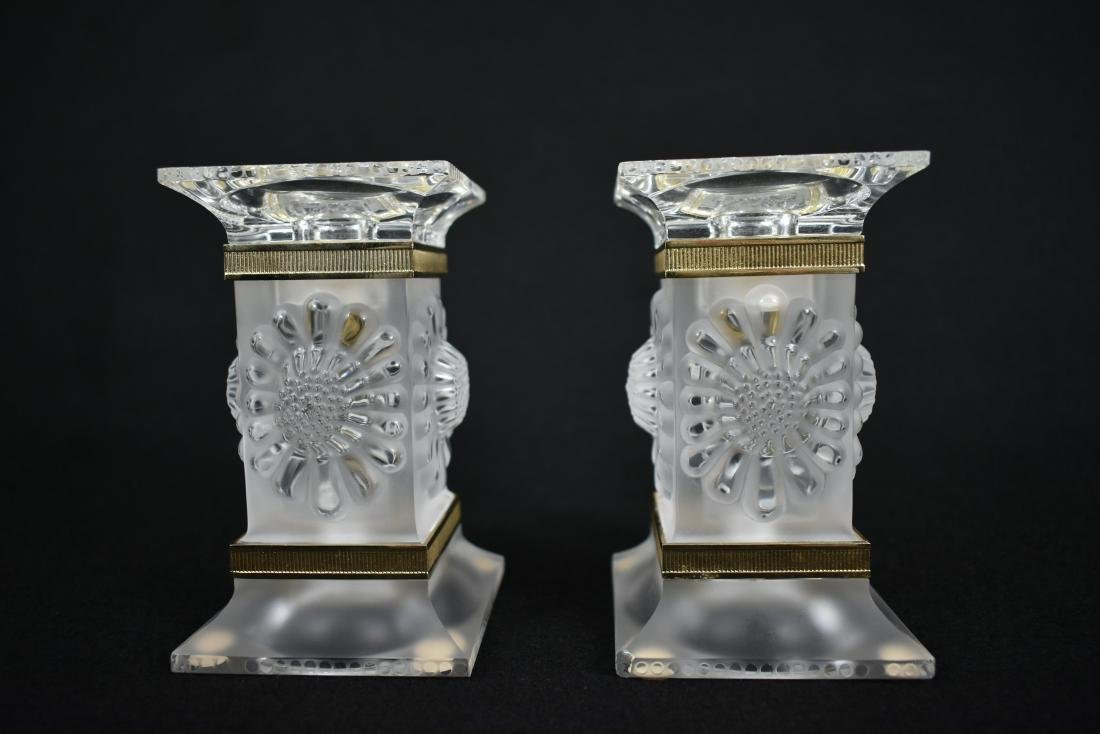 PR LALIQUE GILT MOUNTED FROSTED GLASS CANDLESTICKS